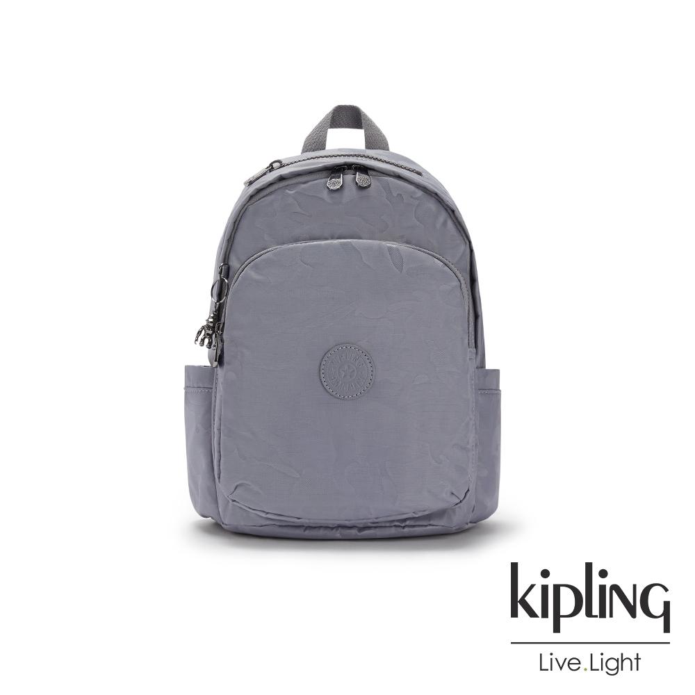 Kipling 光澤霧灰紫迷彩上方拉鍊後背包-DELIA