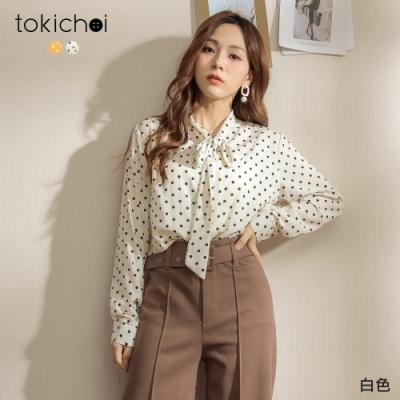 東京著衣 法式復古風情圓點領結上衣(共二色)