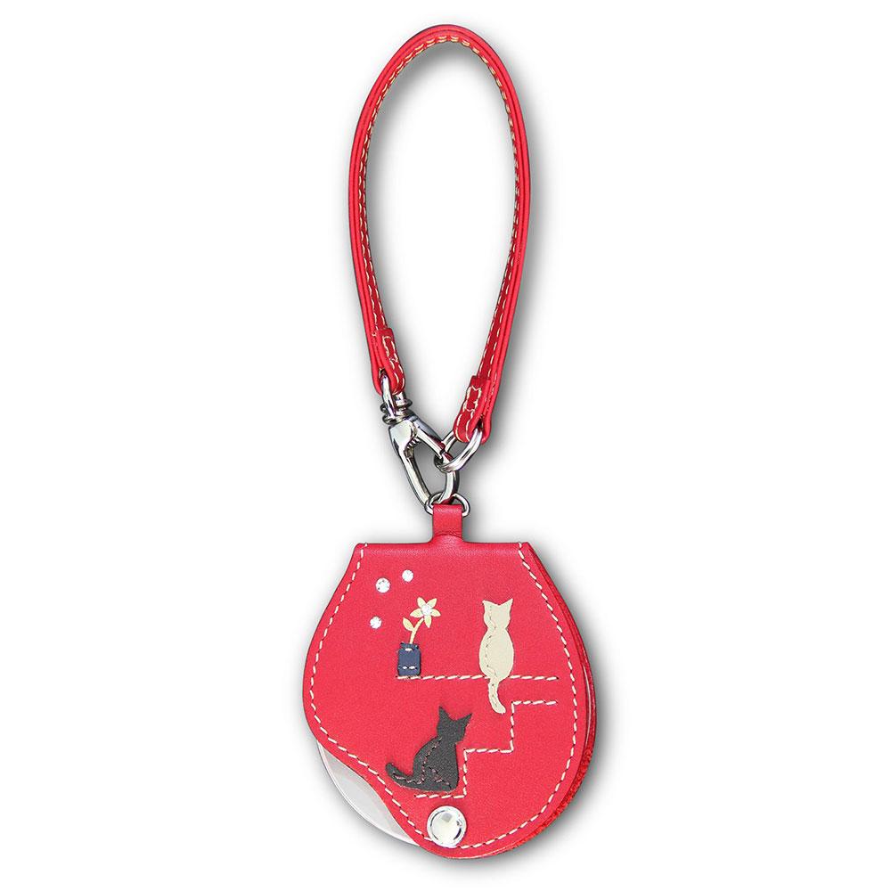 【日本 I.L.K.】3x/63mm 日本製真皮皮套攜帶型放大鏡附扣帶 可愛貓咪款