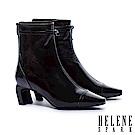 短靴 HELENE SPARK 個性皺漆皮蝴蝶結方頭高跟短靴-黑