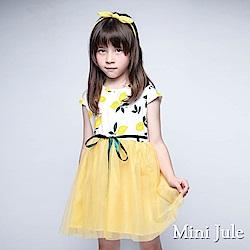 Mini Jule 洋裝 滿版檸檬綁帶網紗下擺洋裝(黃)