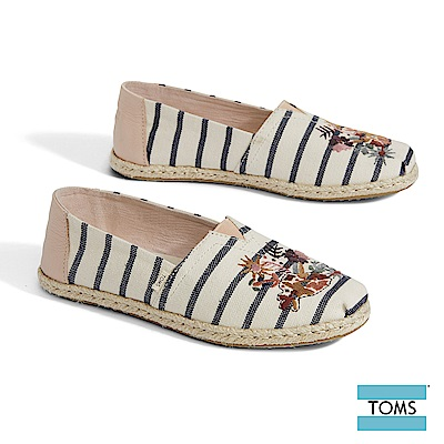 TOMS  繽紛VENICE花卉條紋藤編帆布休閒鞋-女款