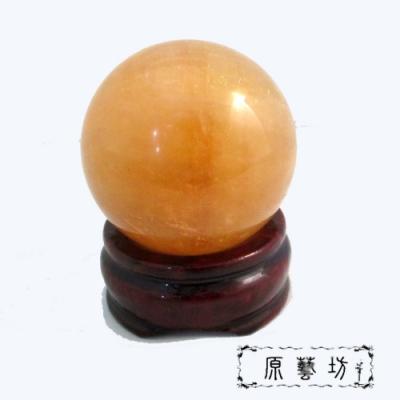 原藝坊天然招財開運黃冰晶圓球-大(直徑55mm)+紅木雕刻底座