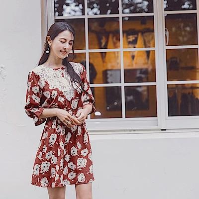 韓系印花蕾絲拼接荷葉七分袖收腰洋裝-OB嚴選