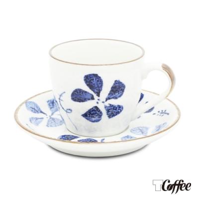 TCoffee MILA-日式手繪咖啡杯盤組 古染花150ml