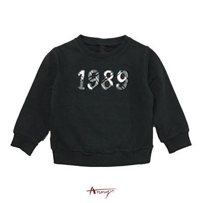 Annys超質料1989格紋壓紋長袖上衣*8474黑