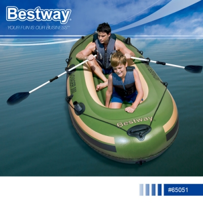 Bestway 65051航海者雙人充氣橡皮艇附船槳.休閒充氣船皮劃艇橡膠釣魚船氣墊船