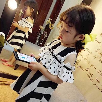 小衣衫童裝  女童小圓點黑白條紋露肩連身裙1080402