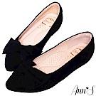 Ann'S拇指外翻救星造型蝴蝶結全真羊皮內增高尖頭鞋-羊皮絨黑(版型偏大)