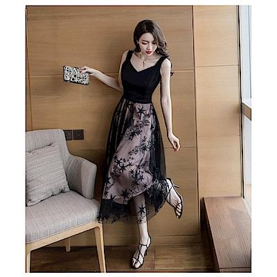 IMStyle 時尚細肩帶無袖網紗洋裝(黑色)