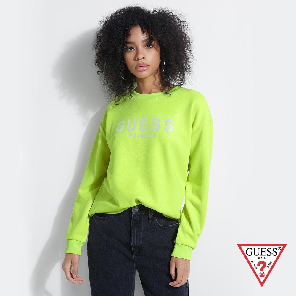 GUESS-女裝-炫光LOGO落肩長袖上衣-螢光綠