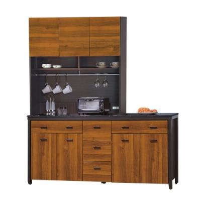 【綠活居】印度   雙色6尺雲紋石面餐櫃/收納櫃組合(上+下座)-181x46x201cm免組