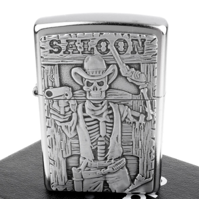 ZIPPO 美系~Saloon Skull-西部酒館骷髏立體圖案貼飾打火機