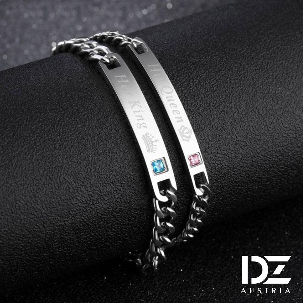DZ 彩鑽King&Queen 316L白鋼情侶手環手鍊二件組