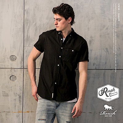 Roush 口袋車線設計亞麻短袖襯衫(5色)