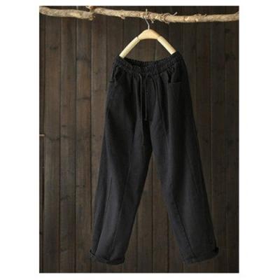 立體裁剪斜紋純棉鬆緊休閒拼接哈倫九分褲-設計所在