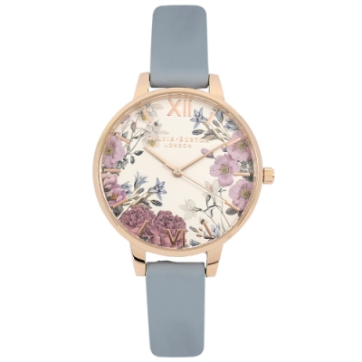 Olivia Burton 英倫復古手錶 紫羅蘭花卉 粉藍色皮革錶帶玫瑰金錶框34mm