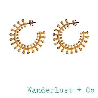 Wanderlust+Co 澳洲品牌 光芒萬丈耳環 金色C型圓耳環 SIONA