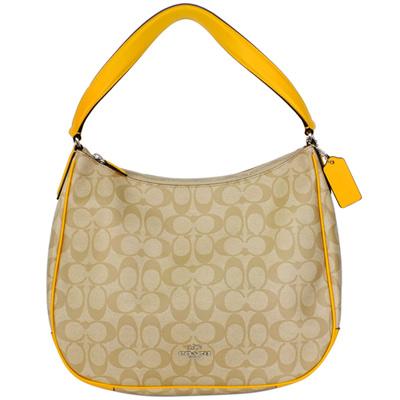 COACH淺卡C Logo鵝黃色真皮飾邊肩背半月包