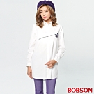 BOBSON 女款蝴蝶刺繡蕾絲長版襯衫