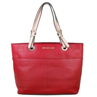 MICHAEL KORS Bedford 金字Logo 荔枝紋皮革多袋式肩背托特包(紅)