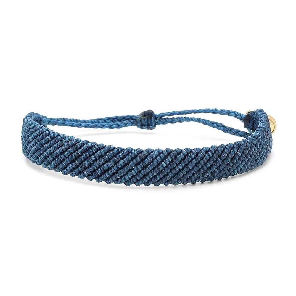 Pura Vida 美國手工 FLAT BRAIDED 藍色超寬版編織手鍊