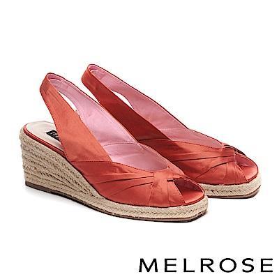 高跟鞋 MELROSE 氣質緞布蝴蝶結魚口後繫帶楔型高跟鞋-紅