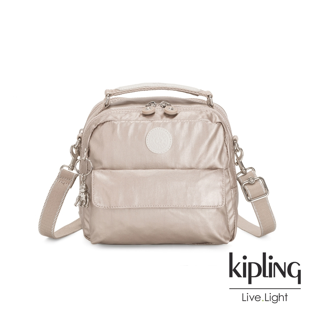 Kipling 都會時尚霧玫瑰金兩用側背後背包-CANDY