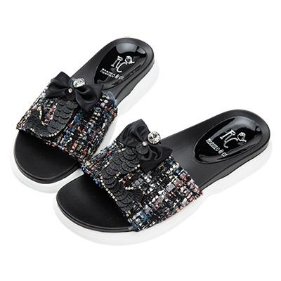 Robinlo 華麗鑲鑽美人魚涼拖鞋 黑色