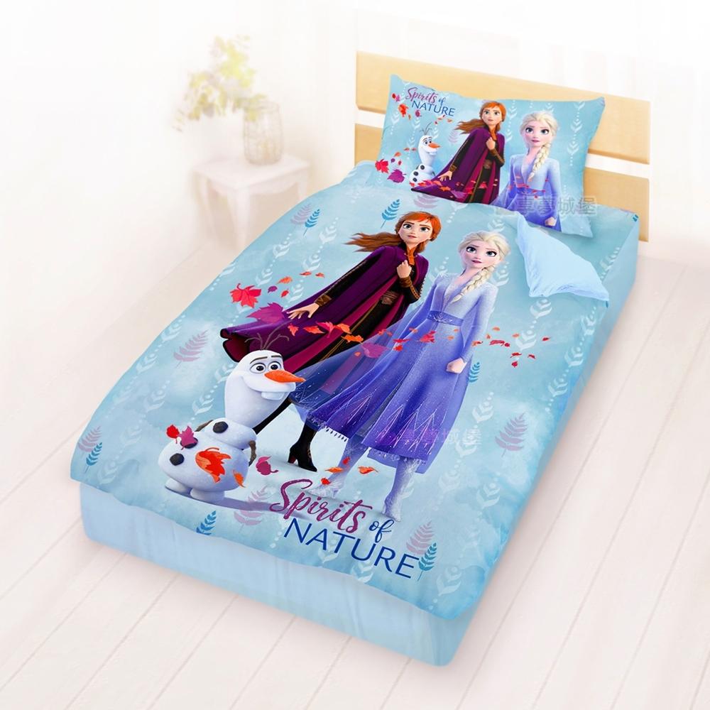 享夢城堡 單人床包涼被三件組-冰雪奇緣FROZEN迪士尼 秋日之森-藍