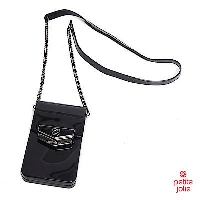 Petite Jolie-盾牌LOGO果凍手機包-黑色