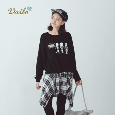 【Dailo】英國守衛假兩件綁帶襯衫-洋裝(三色)