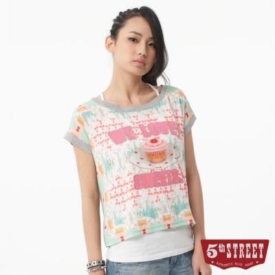 5th STREET T恤 蛋糕印圖雪紡拼接T恤-女-淡粉紅