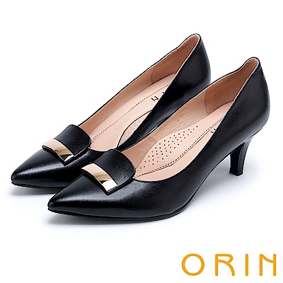 ORIN 典雅時尚女人 金屬片妝點牛皮尖頭高跟鞋-黑色