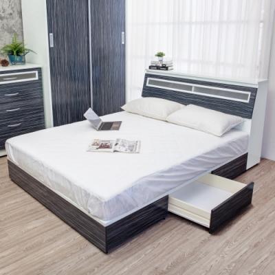 Birdie南亞塑鋼-3.5尺單人二抽屜塑鋼床組(床頭箱+抽屜床底)(鐵刀木色)