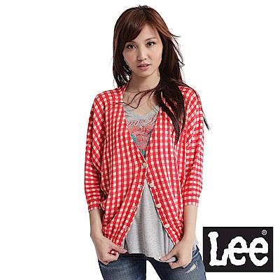 Lee 短袖格紋毛衣外套