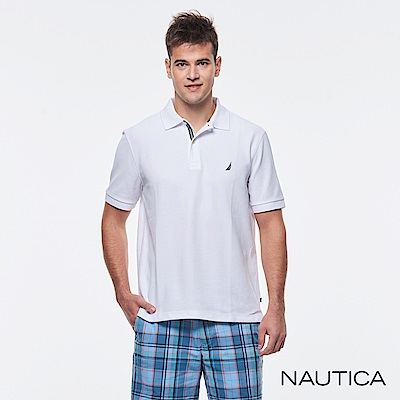 Nautica 簡約素色吸濕快乾短袖POLO衫-白色
