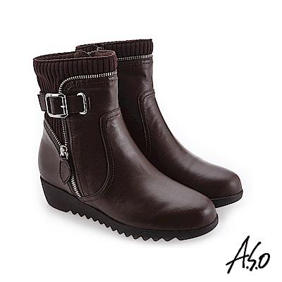 A.S.O 襪套式設計 外側拉鍊裝飾休閒短靴 咖啡