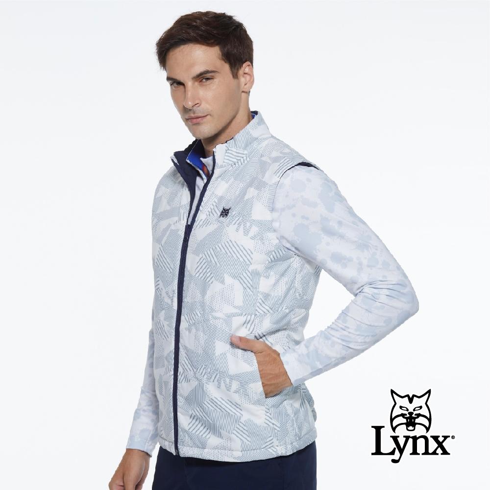 【Lynx Golf】男款防潑水防風保暖鋪棉雙面穿幾何印花無袖背心-白色