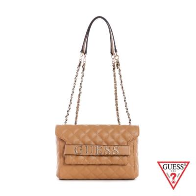 GUESS-女包-時尚氣質菱格紋鍊條肩背包-棕 原價2890