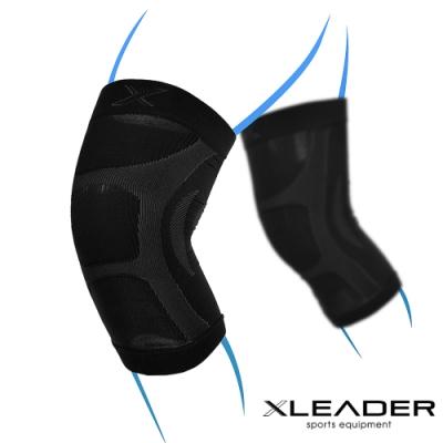 LEADER XW-07漸進式壓力彈性透氣護膝腿套 黑色 2只入