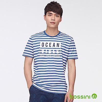 bossini男裝-圓領短袖條紋字母上衣藍白