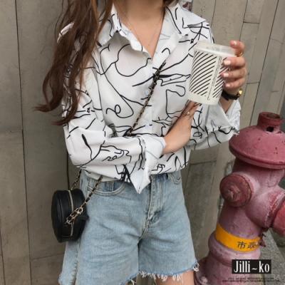 JILLI-KO 線條律動設計襯衫- 白