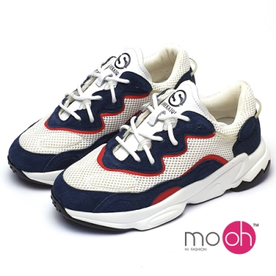 mo.oh拼色老爹鞋厚底真皮網布休閒鞋-白藍色