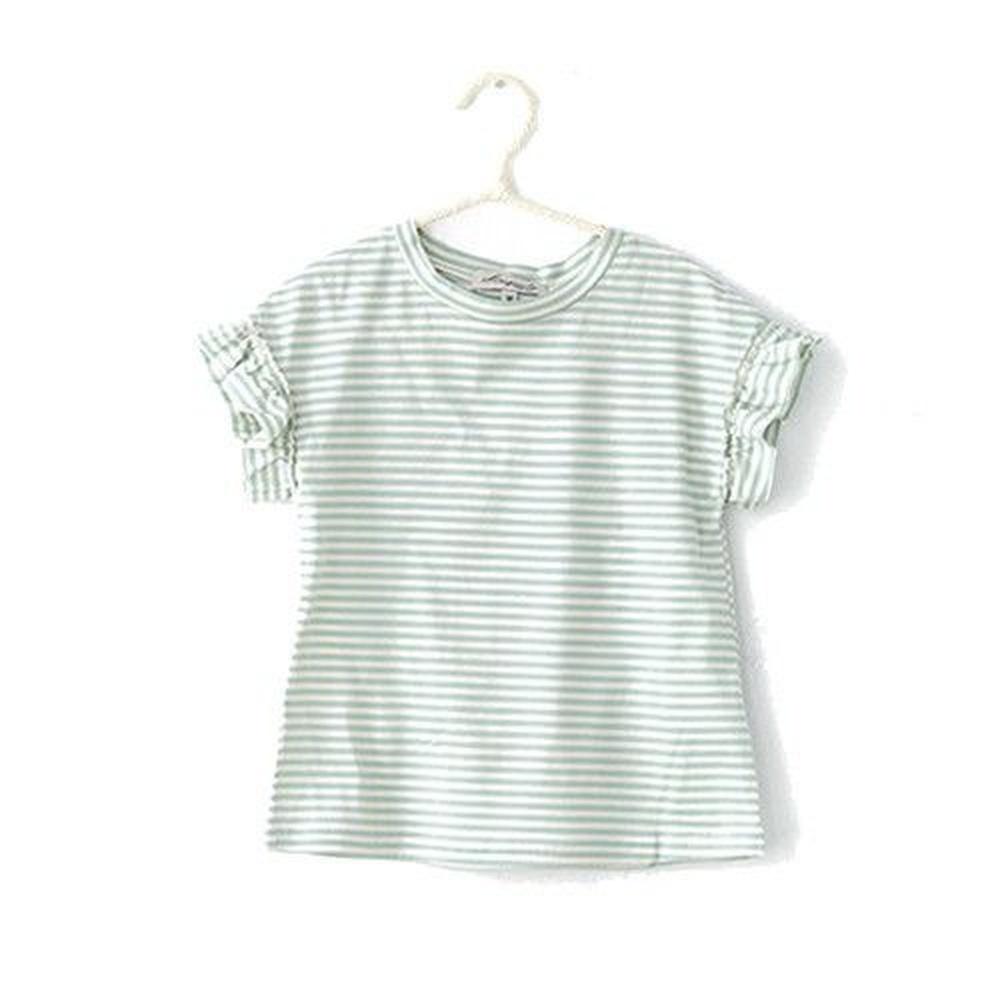 小雛菊 MARGUERITE 百搭荷葉袖小上衣-綠米條紋