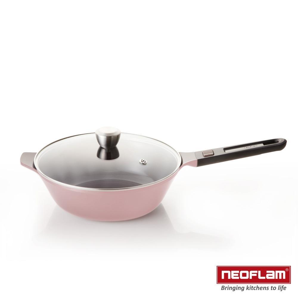 韓國NEOFLAM MyPan系列 陶瓷不沾炒鍋28cm+玻璃蓋