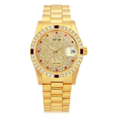 HYUN炫 極致奢華點綴寶石多鑽精品錶-金