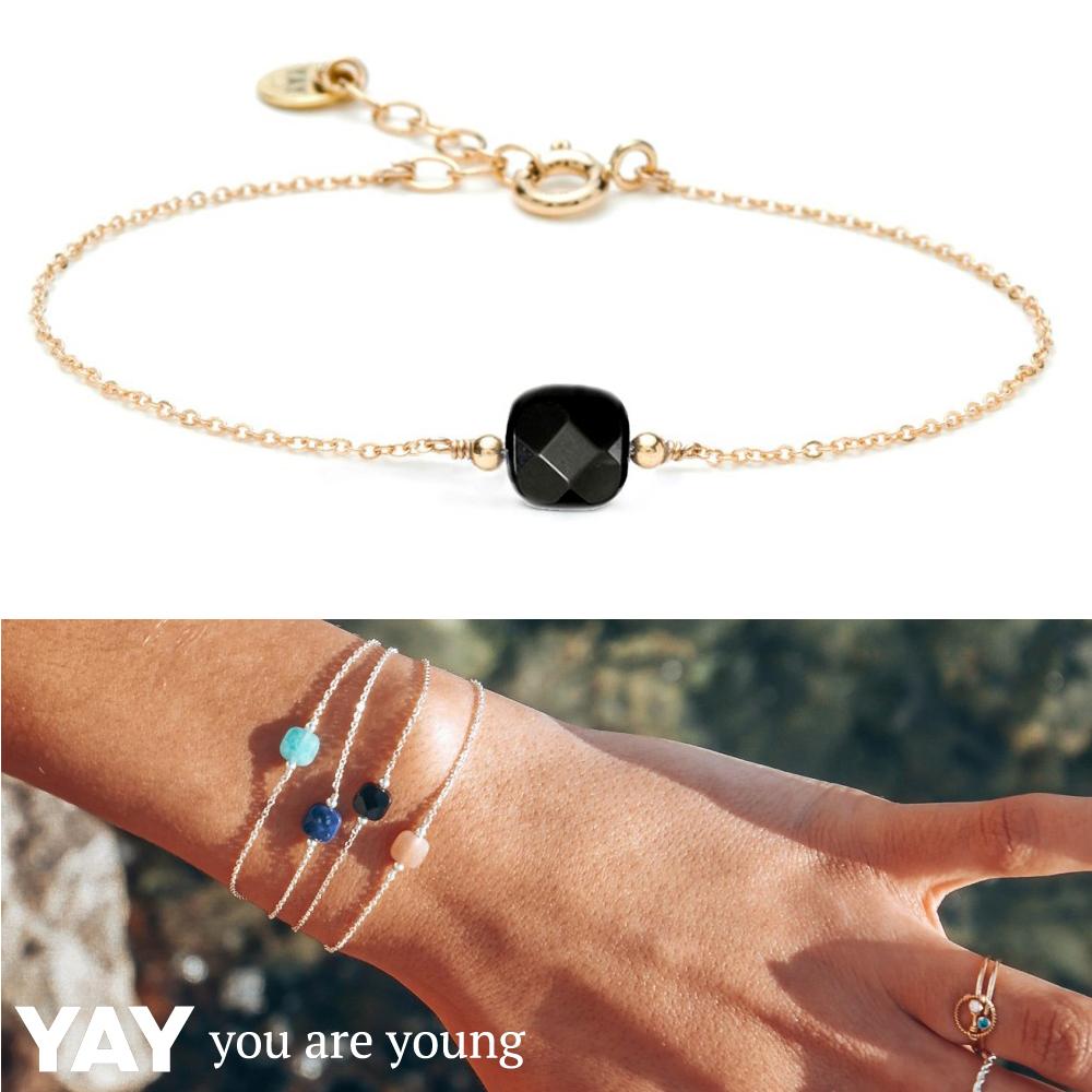 YAY You Are Young法國品牌Riviera 黑瑪瑙手鍊 金色方形款 蔚藍海岸