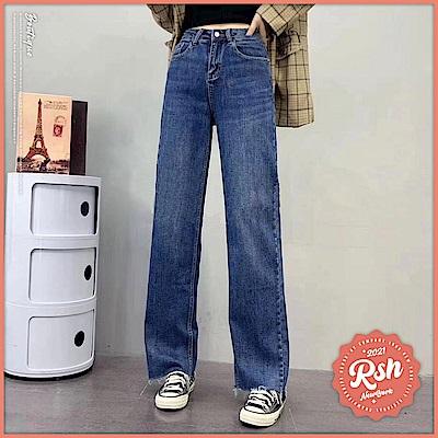 Roush 女生可愛寬版藍色牛仔褲