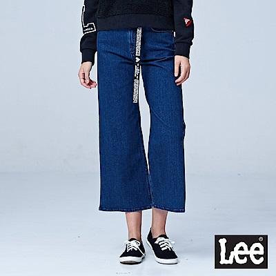 Lee 褲腳開衩寬褲/UR-中藍色